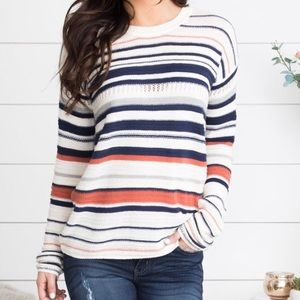 Sweaters - Red, White, and Blue Striped Sweater